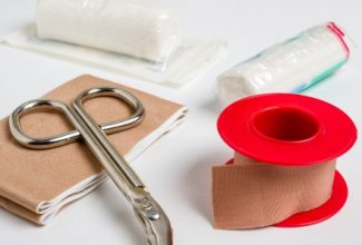 Wound dressing materials for pet first aid kit, surgical scissors, tape, gauze