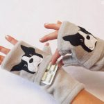 Boston Terrier fingerless gloves