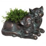 Kitty planter. Resting cats planter in antique bronze with plant in it. Home Decor for Pet Lovers