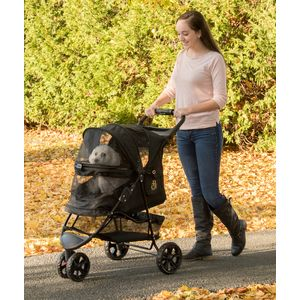 The Pet Gear stroller features an easy-open, latching top and sturdy construction. Also on our gift guide for senior pets.
